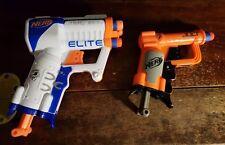 Lot 2 NERF N-Strike Soft Dart Guns White Triad EX-3 & Orange Jolt with 4 Darts