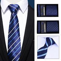 Eg _ Hk- 5Pcs / Ensemble Bureau Hommes Manchette Cravate Mouchoir Pince Cadeau