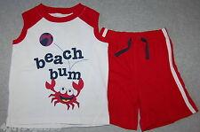 Toddler Boys MUSCLE TEE SHIRT & SHORTS Red White CRAB BEACH BUM Summer 24 MO