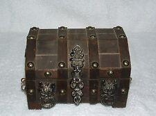 "Vintage Wood Pirate's Treasure Chest Jewelry Watch Box- 6.5"" W  X 5.5"" D X 4.5""H"
