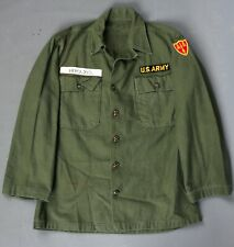 Vtg Men's 1940s Post Ww2 Us Army Sateen Utility Shirt W Patches Sz Small 60s