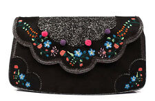 Irregular Choice NEW Fleur black floral embroidered glitter clutch shoulder bag