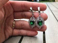 Green Emerald and Topaz Sterling Silver Drop Dangle Earrings Edwardian eye