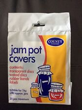 Jampot/Marmalade/Preserves covers, 2lb Jam pot covers by County pack 20, New
