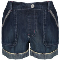 Girls Light And Dark Cotton Denim Shorts