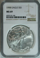 1998 Silver American Eagle Dollar / NGC MS69 / Mint State 69 🇺🇸