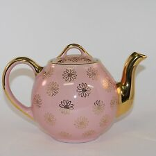 Vintage Hall China Pink and Gold Daisy Flower Teapot 8 Cup 05.5GL Made in USA