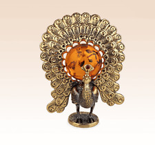 Miniature Bronze Figurine Peacock with amber sculpture manual processing rare-
