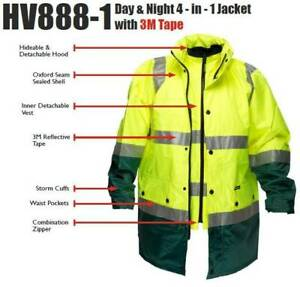 Hi Vis Jacket Waterproof and Vest | 4 in 1 | Prime Mover HV888-1 | Y/N, Y/G O/N