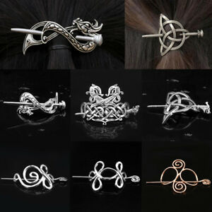 Vintage Celtic Knot Viking Hair Clips Charm Hair Pins Stick Slide Hair Jewelry
