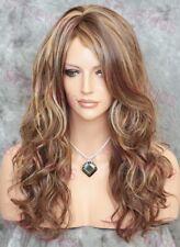 Light Brown/Blonde Long Wavy Curls Heat OK Human Hair Blend Wig STAM 8/27/613