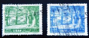 Lebanon Stamps 1961 / Cedars of Zahle /   Set of 2 / Green and Blue / Used