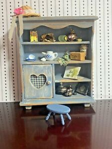 Vintage Artisan Dollhouse Made in England Dressed Hand painted cabinet Stool