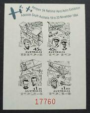 1994 Australia Aeropex '94 Aviation Black Plate Proof Stamps imperf MS 澳洲航空无齿小全张