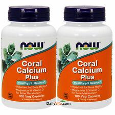 NOW Foods Coral Calcium Magnesium Vitamin D 100 V Caps, Made In USA, FRESH
