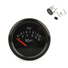 "12V Universal VDO Gauge Oil Pressure 0-10 BAR 2""/52mm Black Face Dial w/Bracket"