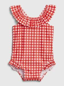 Baby Gap Red Gingham Ruffle One Piece Swim Suit NWT Sz. 12-18 Months