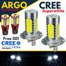 H7 Super White Cob 12v Dipped Headlight Bulbs + 501 57 Smd Led Canbus Sidelights