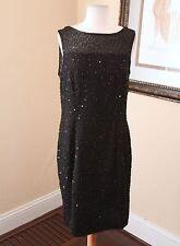 Vtg Black Silk Beaded Sequin Sleeveless Cocktail Formal Dress Sz L Evening Mesh