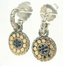 JOHN HARDY Black Sapphire 18k Gold Dot Sterling 925 Drop Dangle Pierced Earrings