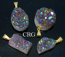Rainbow Pink Titanium Aura Amethyst Freeform Druzy Pendant w/ Gold Bail (DR45CN)