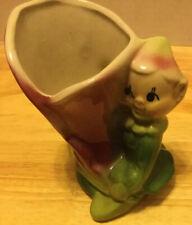 Vintage Pottery -Pixie Elf Kneeling w/Pink Flower - Vase /Planter