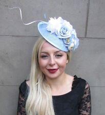 Crème Ivoire Blush Rose Clair Fleur Sinamay disque soucoupe Chapeau Bibi Cheveux 5953