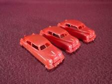 #2 VINTAGE MANOIL 3 RED PLASTIC CARS - 1 W/ HITCH - 3 INCH