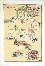 Tea Towel. Linen/Cotton. Australia Map and Animals Souvenir.