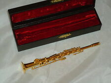 Gold Soprano Saxophone In Hard Case Sax  Miniature Musical Instrument Nice Gift