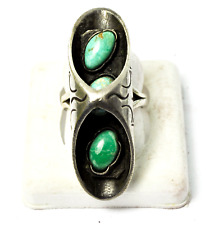 Sterling Silver Pea Pod Turquoise Burrito Taco Shadow Box Ring 42mm Size 6