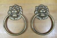 Old Pair Brass LION Hangers Pulls Architectural Hardware GLO MAR ART WORKS NY