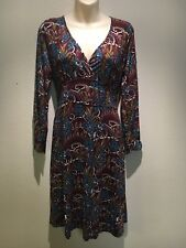 Oasis Brown Teal Stretch Long Sleeve V-Neck A-line Dress Size UK 16 Fit AU 14 16
