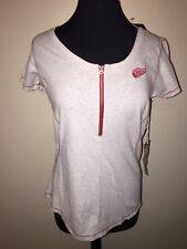 Detroit Red Wings Medium Antigua S/S Shirt NWT Soft Women's Heather/Red NHL Zip