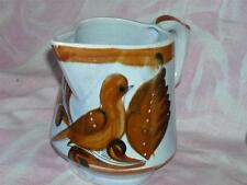 Vtg Tonola Mexican Blue & Brown Pitcher with Dove & Leaf HandPainted Signed AJM