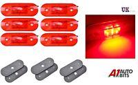 6X Red 24V 9 LED Rear Side Tail Marker Lights Lamps Truck Trailer Bus