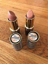 (2) New- Revlon Super Lustrous Velvet Chromes Lipstick # 100 Gilded Chrome