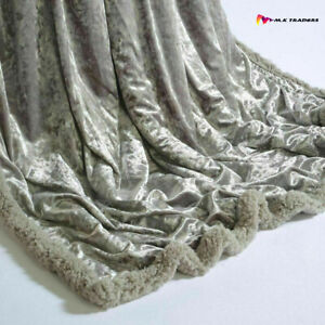 New Gorgeous Crushed Velvet Throw 150x200cm SOFT TOUCH LUXURY THROW SHERPA LINED