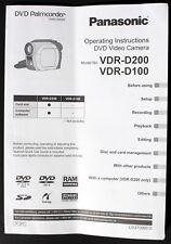 Panasonic DVD Palmcorder Camera VDR-D100 VDR-D200 Operating Instructions Guide