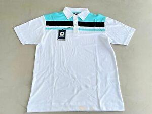 FootJoy Smooth Pique Polo Shirt Large White / Aqua / Black