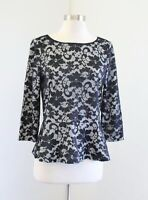Ivanka Trump Womens Black White Mesh Lace Floral Peplum Top Blouse Size M