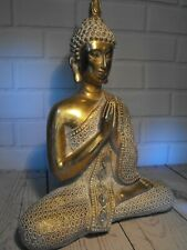 More details for thai buddha ornament meditation oriental home decor gold white  antique style
