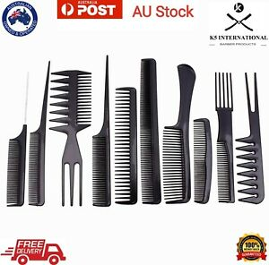10Pcs/Set Hair Combs Salon Hairdressing Hair Style Barber Plastic Brush Comb AU