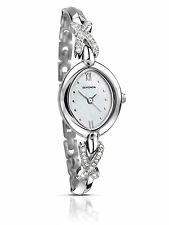 Sekonda Ladies White Mother Of Pearl Silver Stone Set Bracelet Watch 2042 RRP £4