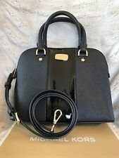 NWT MICHAEL KORS LEATHER CENTER STRIPE CINDY SMALL SATCHEL BAG IN BLACK (SALE!!)