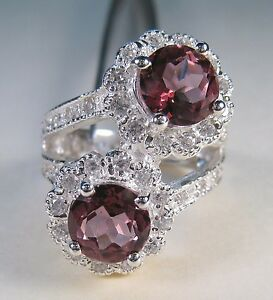 PINK TOPAZ & WHITE SAPPHIRE RING 5.83 CTW #8 WHITE GOLD over 925 STERLING SILVER