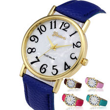 Retro Digital Dial Wristwatches Women's Watch Leather Band Quartz Analogue