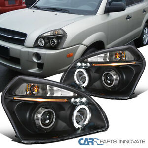 For 05-09 Hyundai Tucson LED Halo Projector Headlights Lamps Black Left+Right