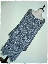 Tacera Bohemian Boho Black & White Paisley Damask Bell Sleeved Shift Dress 2X