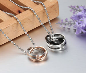His & Hers Lover Promise Matching Stainless Steel Couple Necklace UK Seller #19